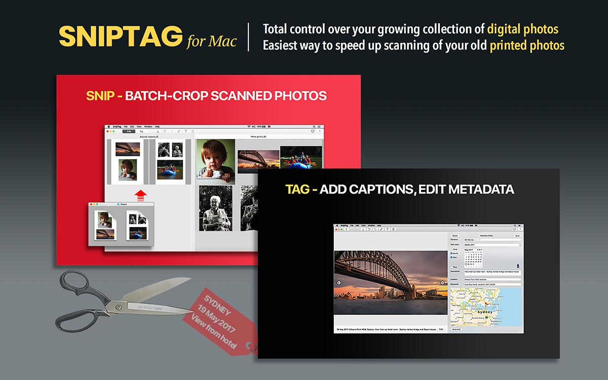 sniptag app crop scanned photos edit metadata